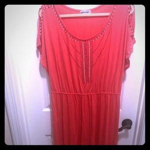 Gliitterscape coral high/low dress. Never worn.